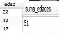 Campo edad, y resultado de la suma de los valores del campo con la función SUM