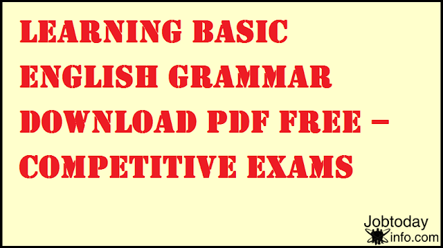Learning Basic English Grammar Download PDF Free – Competitive Exams