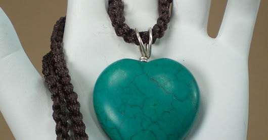 Sale - Cute natural turquoise heart pendant hang on a chinese knot chain necklace