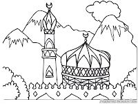 Gambar Masjid Didaerah Puncak Bogor Untuk Diwarnai