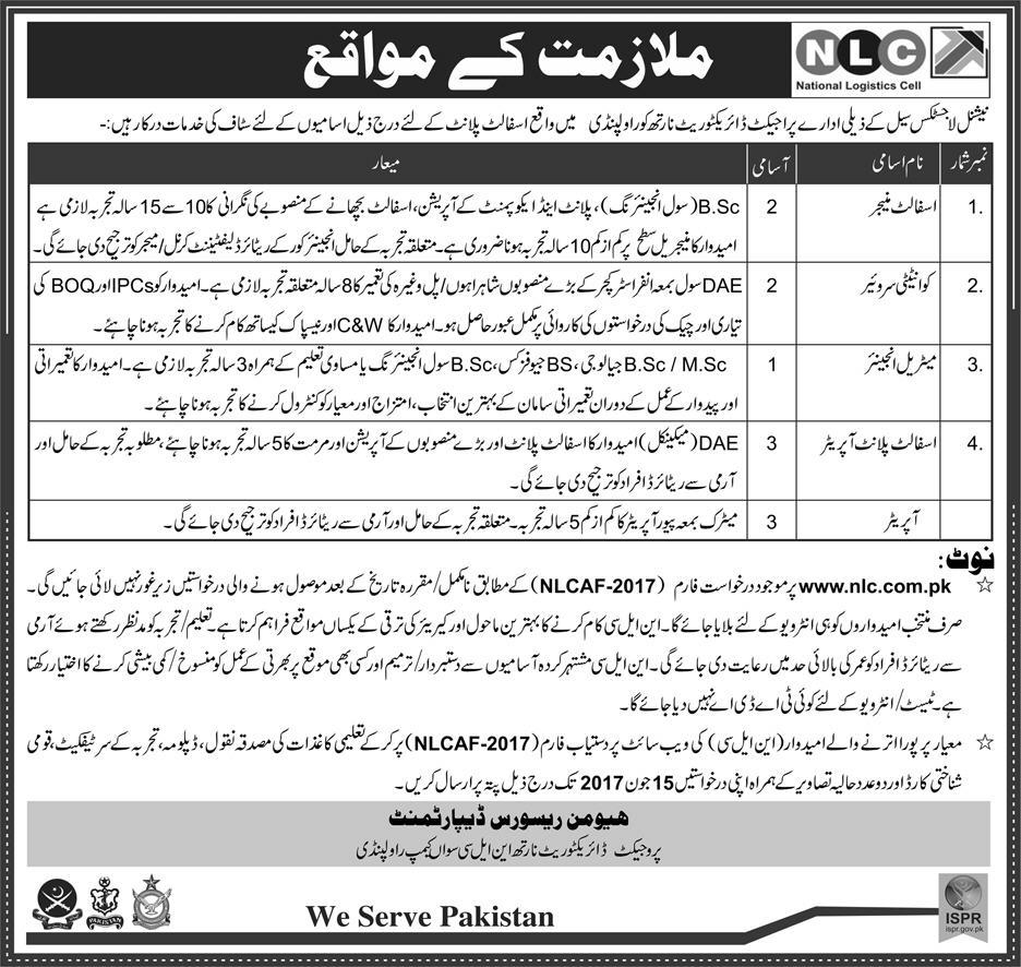 NLC Jobs in National Logistics Cell Rawalpindi 28 May 2017