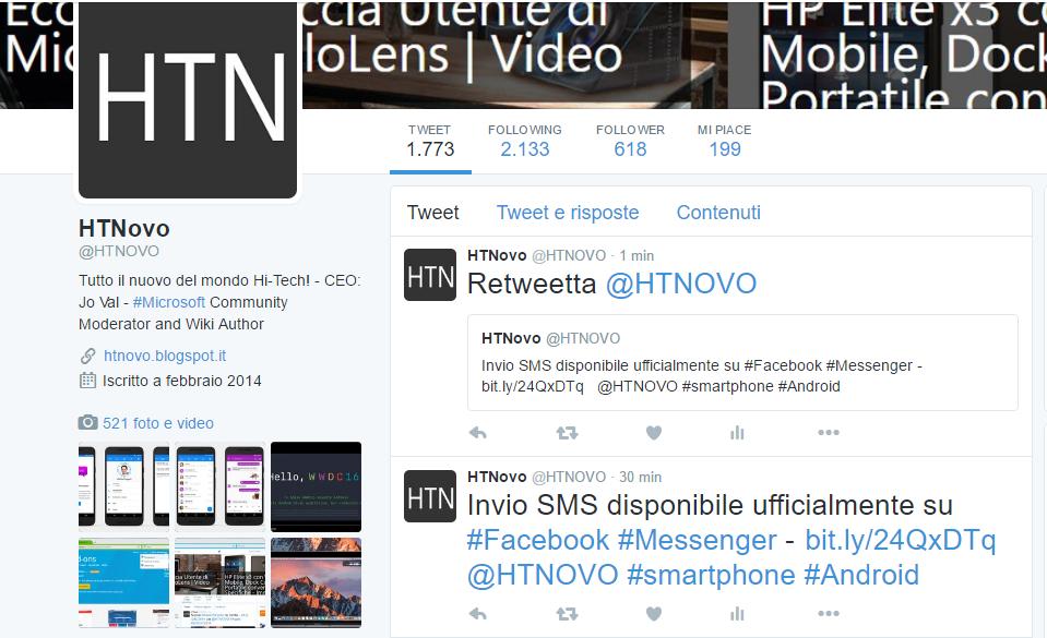 Twitter consente adesso di Retweettare i propri Tweet da HTNovo