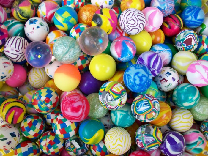 A whole mess of differently colored and patterned Super Balls