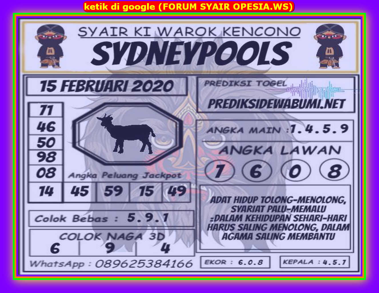 Kode syair Sydney Sabtu 15 Februari 2020 132