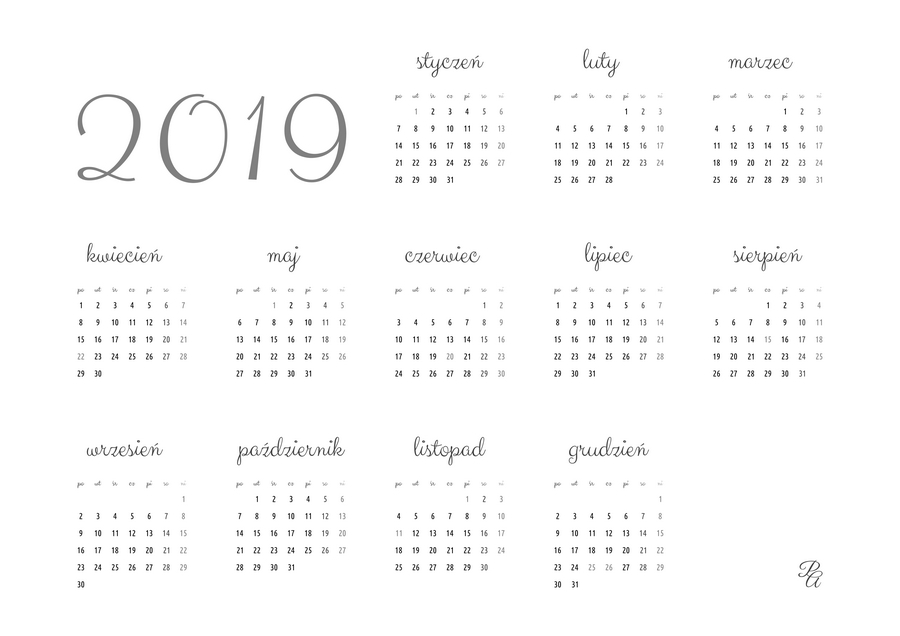 kalendarz 2019 szary