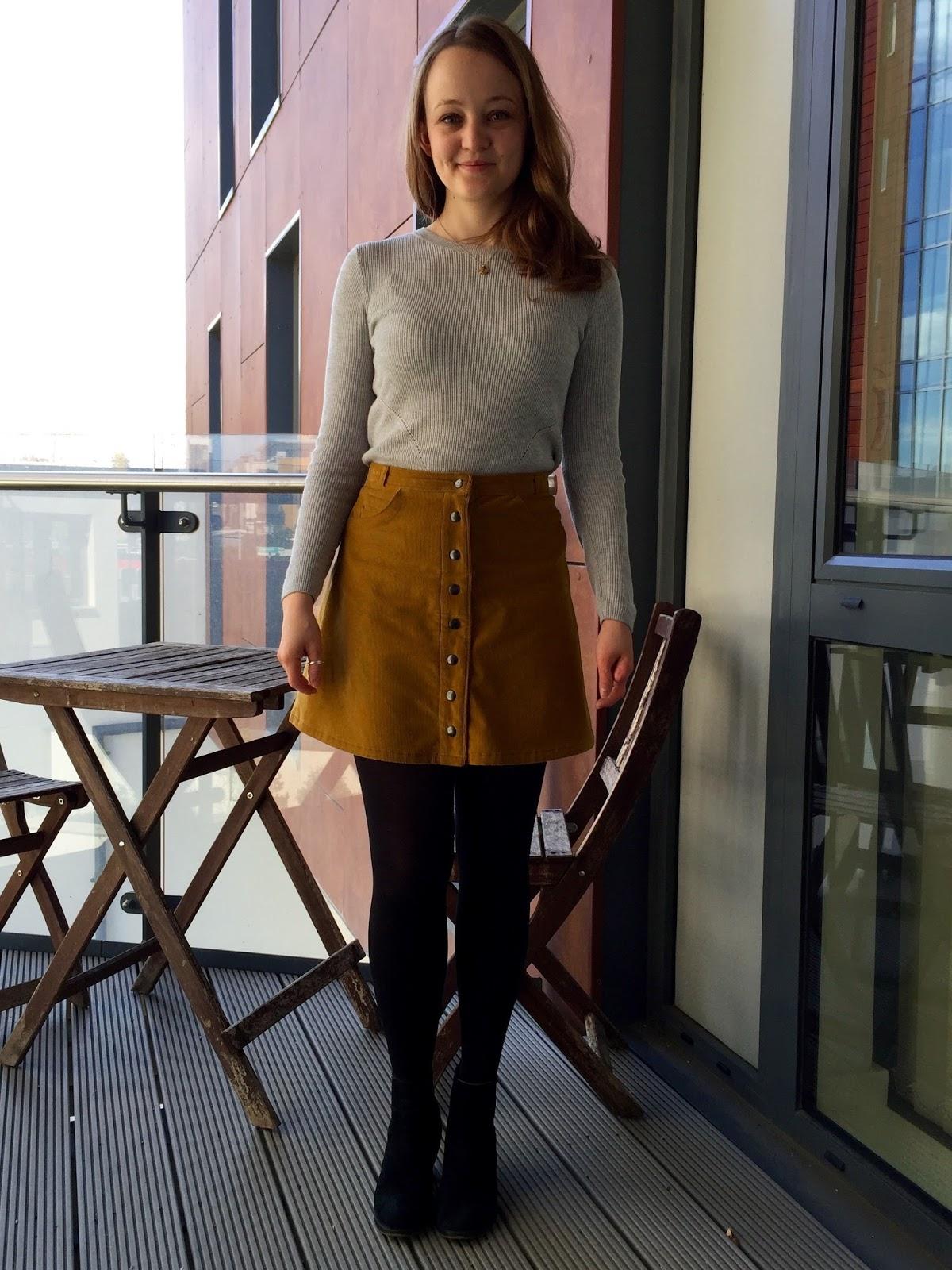 dd09ba30fb0b4d Diary of a Chain Stitcher: Honey Mustard Cotton Corduroy Rosari Mini Skirt  from Pauline Alice