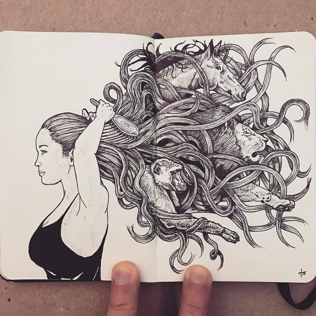 12-Control-the-Mane-Francisco-Del-Carpio-Moleskine-Black-and-White-Ink-Drawings-www-designstack-co
