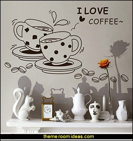 Coffee House Wall Sticker Decal  coffee theme decor - coffee themed decorating ideas - coffee themed kitchen decorations - coffee cup theme in the kitchen - coffee kitchen decor - coffee wall decal stickers - coffee cafe decor - coffee wallpaper murals - Barista tools  coffee cafe