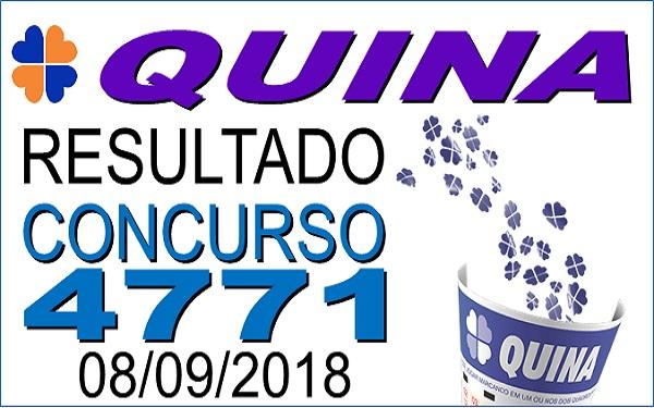 Resultado da Quina concurso 4771 de 08/09/2018 (Imagem: Informe Notícias)
