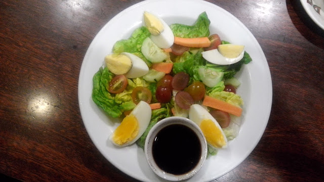 NEW Domefied Food Items  Garden Salad Php 370 Romaine lettuce, cherry tomato, cucumber, carrots, grapes and boiled egg with balsamic vinaigrette.