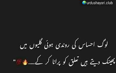 Log Ehsas Ki Rondi Hui Galiyoon Mein..  Phenk Daite Hai, Taluq Ko Purana Ker K..!!  #poetry #urdulines