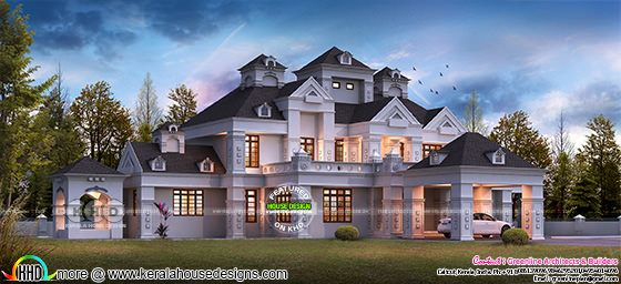 800 square yards luxury Colonial villa plan
