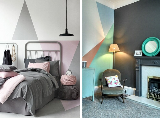 pastel colours wall paint ideas geometry