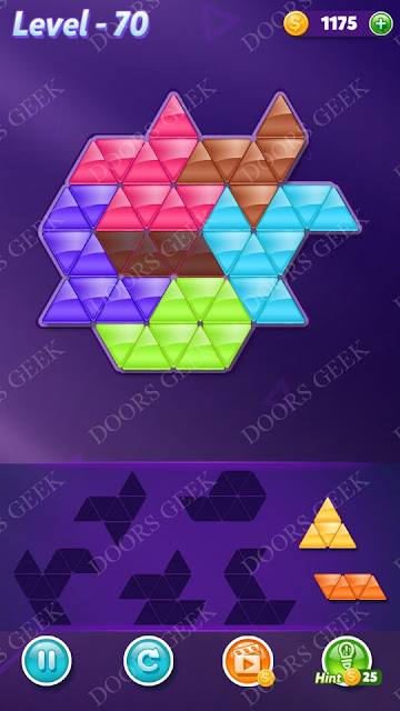 Block! Triangle Puzzle 6 Mania Level 70 Solution, Cheats, Walkthrough for Android, iPhone, iPad and iPod