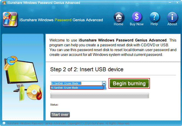 select usb drive to burn windows password recovery program