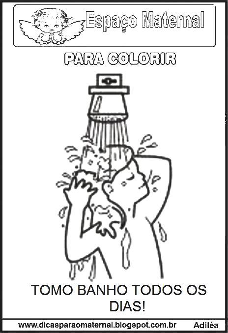 desenhos dos hÁbitos de higiene para imprimir e colorir espaço
