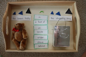 Montessori-Inspired Preposition Work Based on the Book Corduroy (Photo by Julie at The Adventures of Bear)