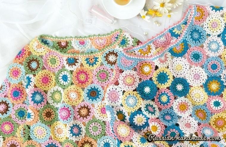 Пуловер крючком из мотивов (2)