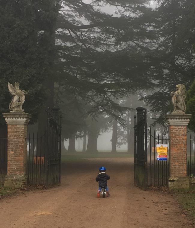 #MySundayPhoto-Number-5-boy-on-bike-heading-towards-gates-and-fog