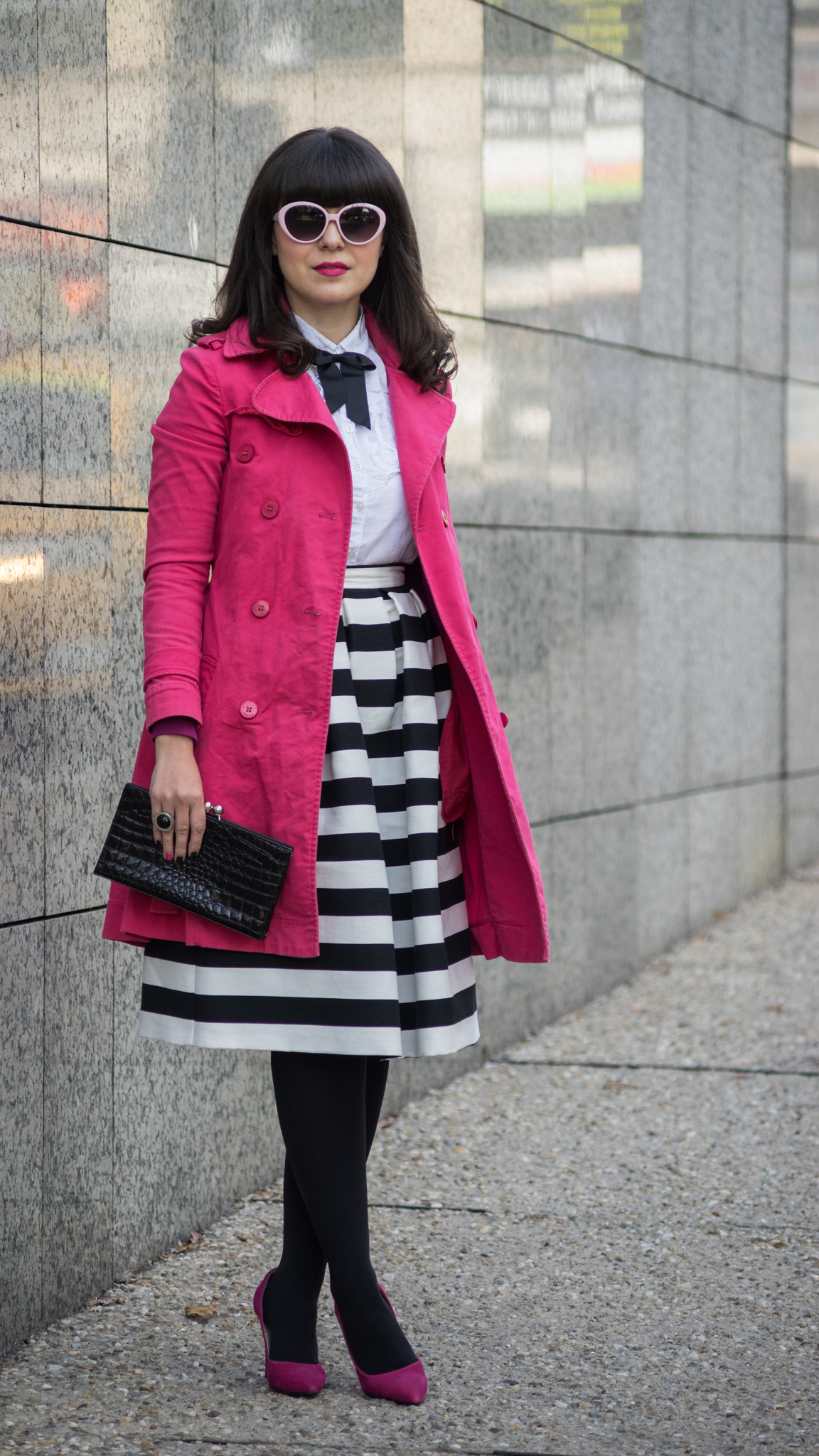 786d55fd72 black   white outfit with stripes and pops of pink and fuchsia white shirt  black bow