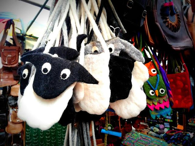 sheep bags at the market