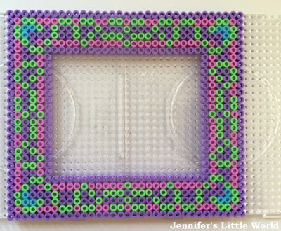 Hama bead photo frame purple and green