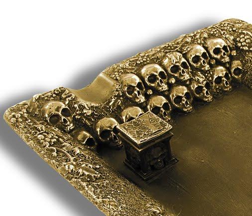 bronze skull ashtray