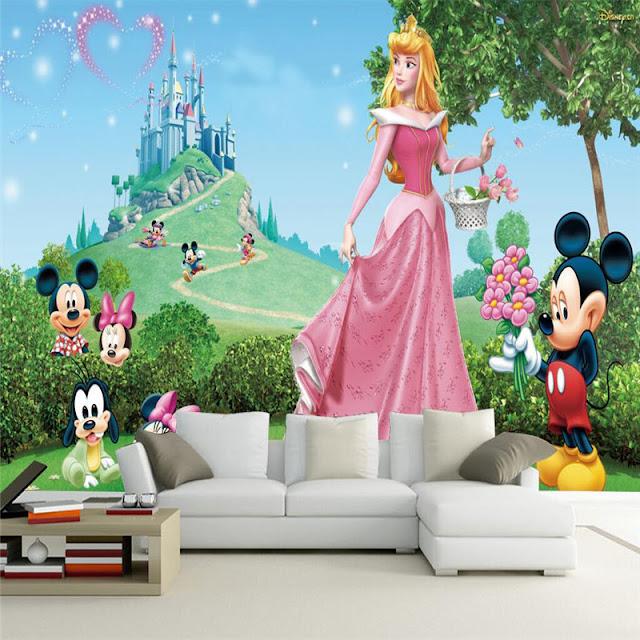 Castle Wall Murals 3D Room Cartoon Castle Tower Wallpaper for Kids Livingroom Wall Mural Disney Night Mickey Mouse Children