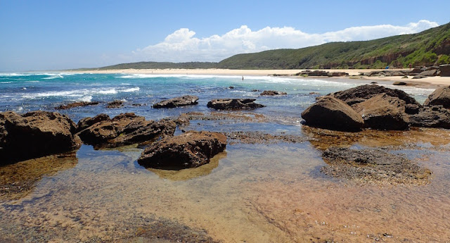 Birdie Beach New South Wales, beautiful palette of gold, turquoise, sienna and beige