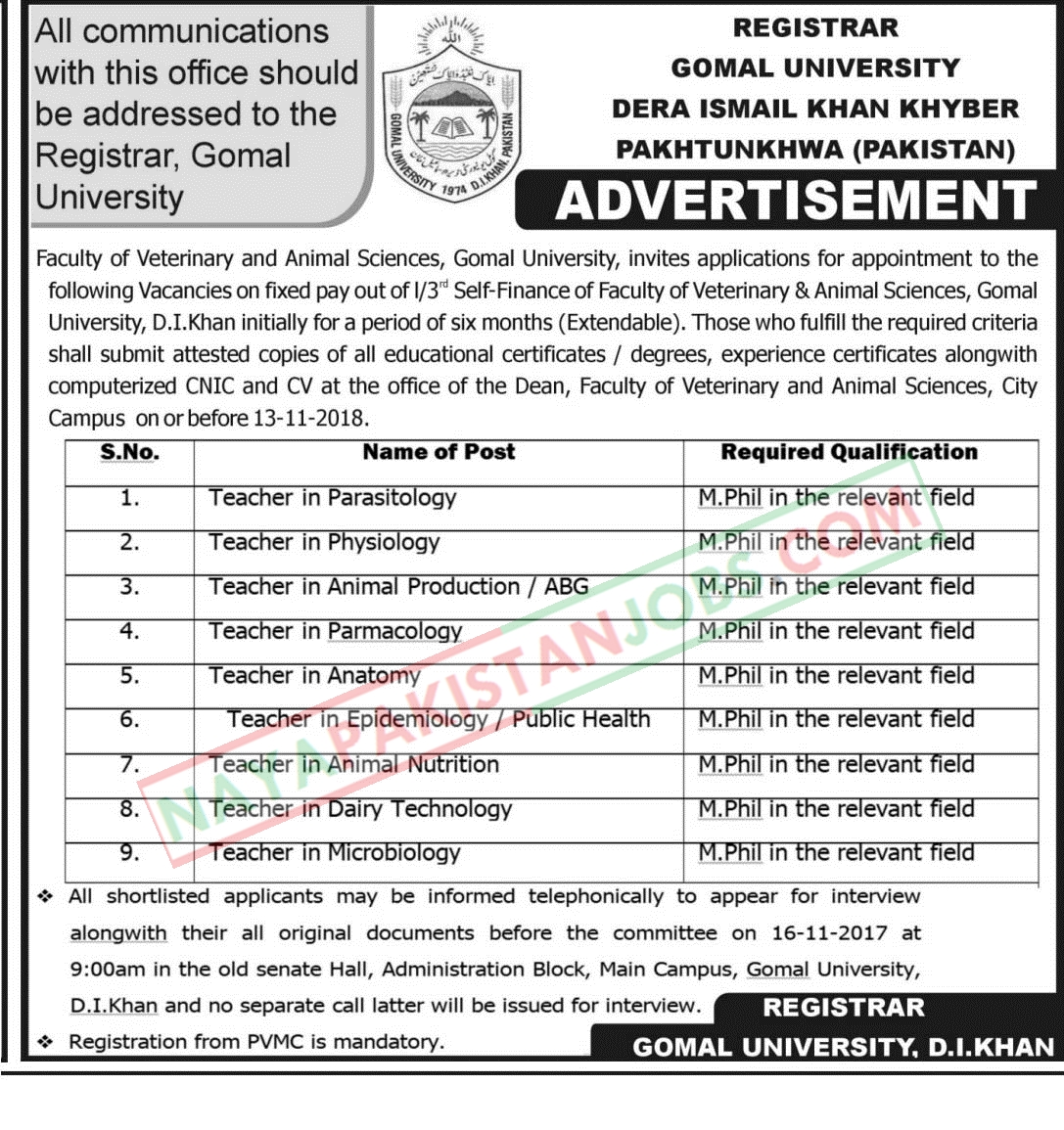 Latest Vacancies Announced in Gomal University KPK 7 November 2018 - Naya Pakistan
