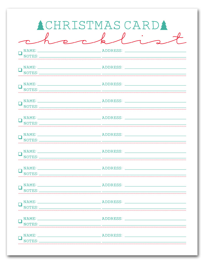 i should be mopping the floor Free Printable Christmas Card List