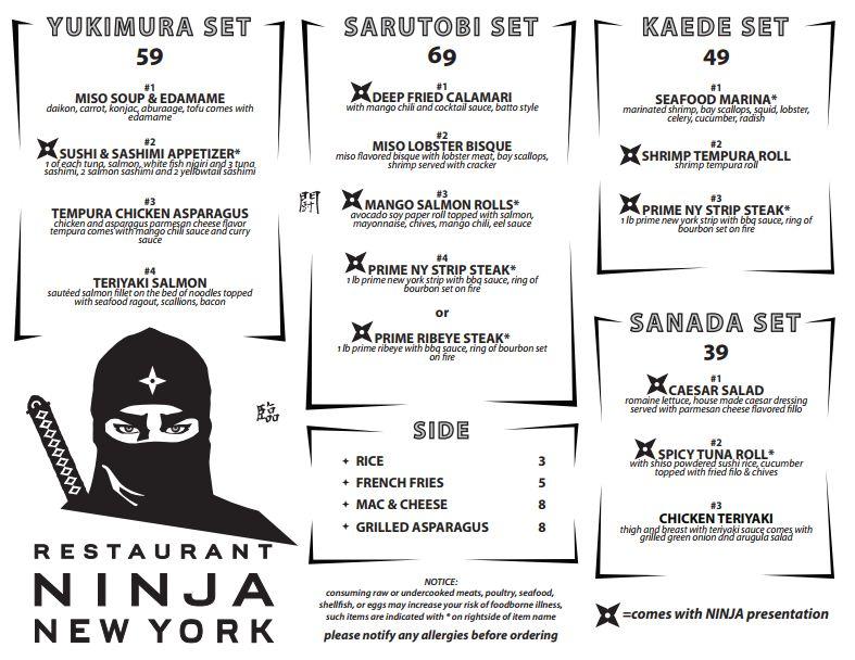 Menu Restaurant Ninja New York