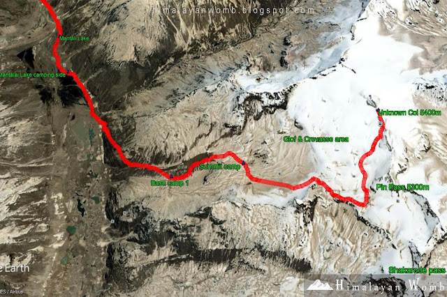 Pin parvati pass trekking map