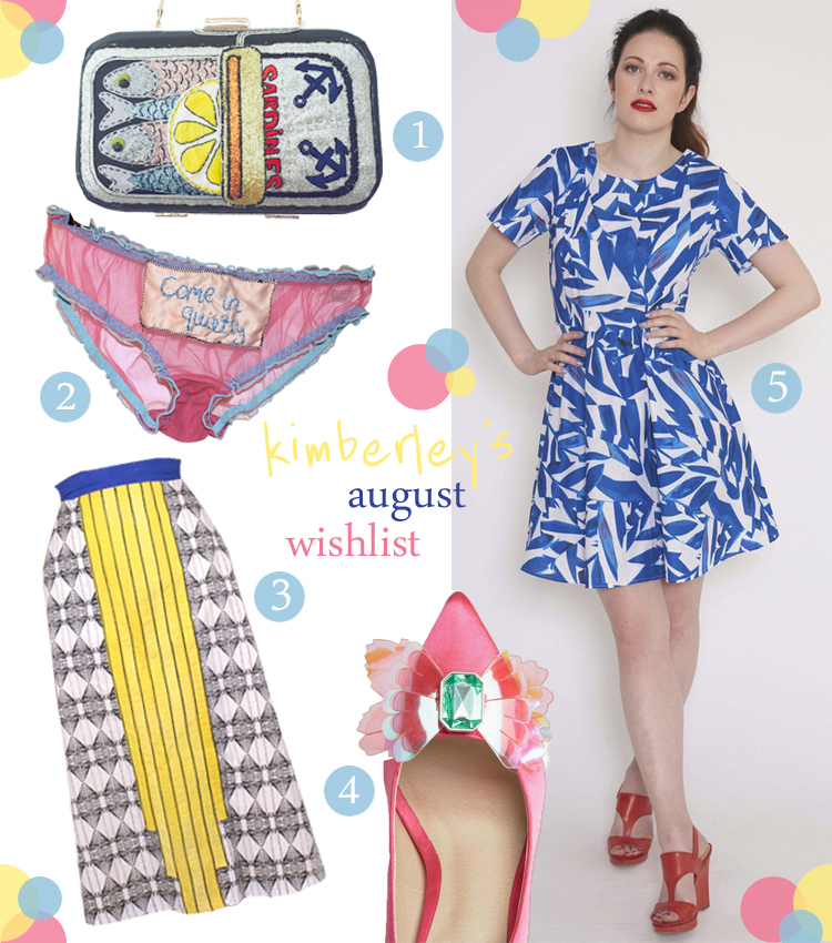 Wishlist, wish list, novelty bag, sardine back, embroidered clutch, Lienka by Gaby, frilly knickers, embroidered underwear, Keep Off the Lawn Underwear, A line skirt, colourful skirt, patterned skirt, Aimee Kent, Barbie shoes, pink heels, ASOS heels, Mollie Brown, patterned dress, blue patterned dress