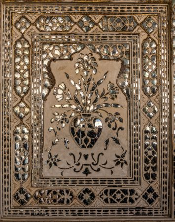 A closeup of beautiful panel in Sheesh Mahal