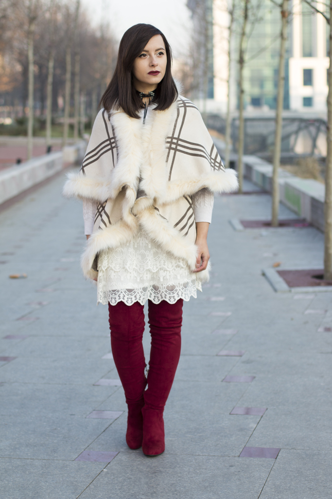 white winter look with red boots