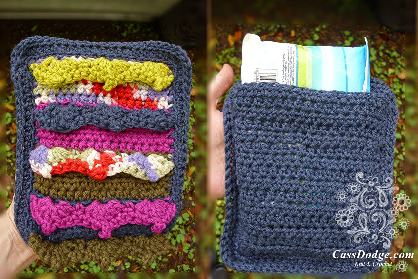 Eventide Blanket Pattern (Susan Carlson of Felted Button) Sample made by Cass Dodge of CassDodge.com as an ice pack cover