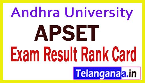 Andhra University APSET Results 2019 APSET Rank Card Download