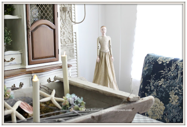 French Country Farmhouse Dining Room-Vignettes-Vintage-Santos Cage Doll- From My Front Porch To Yours