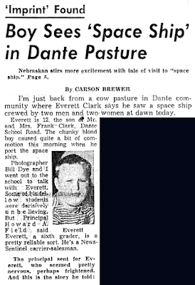 Boy Sees Space Ship in Dante Pasture (Color Background Edit) - Knoxville New Sentinel 11-6-1957
