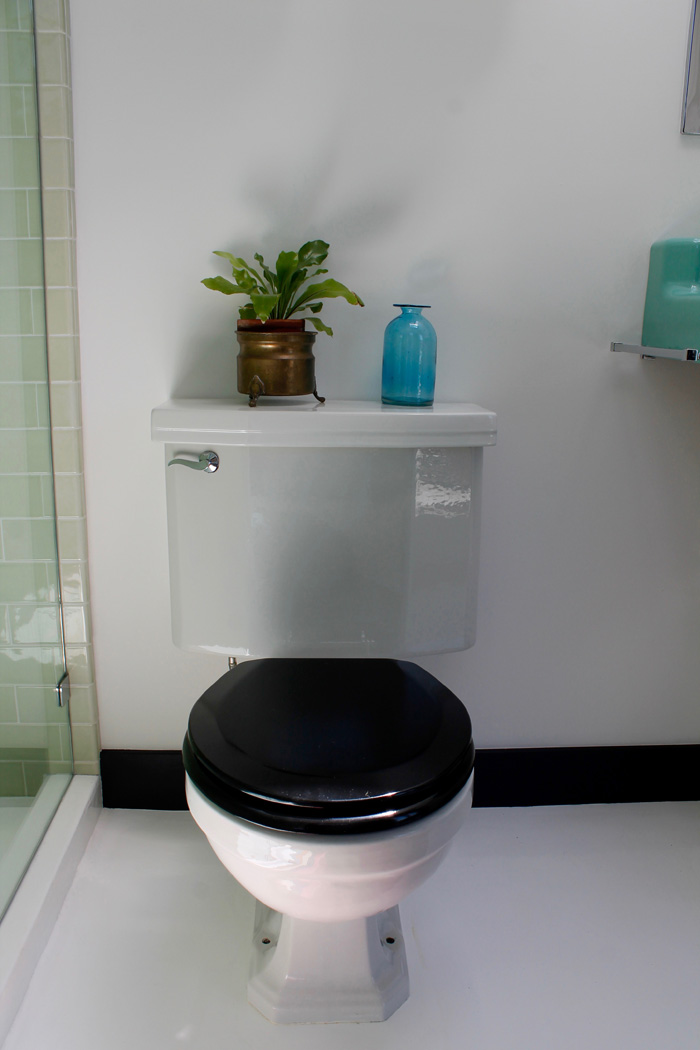 white toilet with black seat. I replaced the white toilet seat in here with a black one  really like this look bath classic finishes The Shingled House Top Floor Bathroom