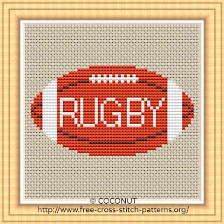 RUGBY BALL, FREE AND EASY PRINTABLE CROSS STITCH PATTERN