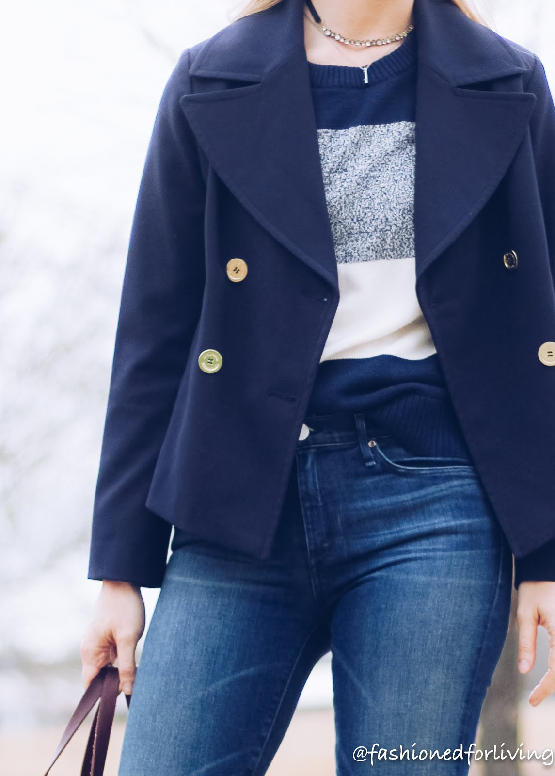 Fashioned For Living cropped jacket striped sweater