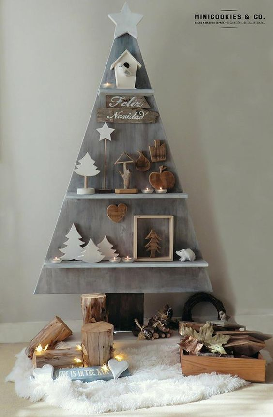 Árbol de Navidad estanterñia estilo romántico shabby chic