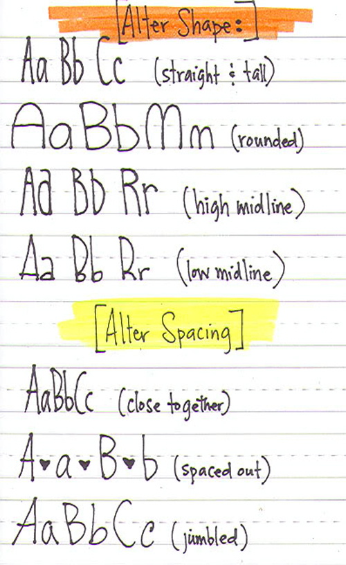 Alter your handwriting! From How To Improve Your Handwriting As A Leftie