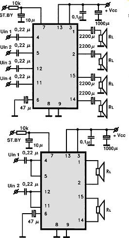 , Circuito de amplificador de áudio dinâmico com CI TDA7375