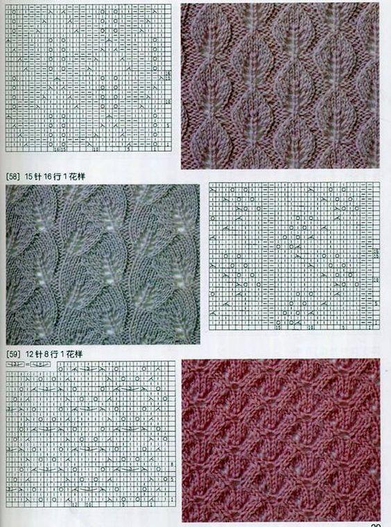 Листики спицами - схемы и описание красивых узоров