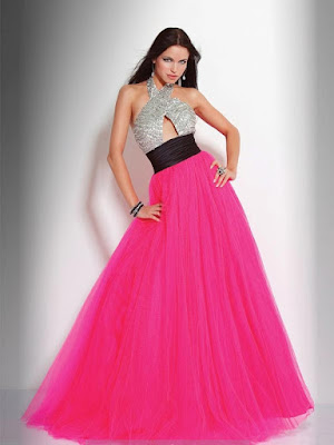 A-line Halter Sleeveless Floor-length Tulle Prom Dress #FC203