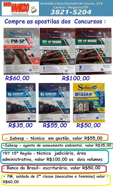 Compre as apostilas para diversos concursos na Banca Vanildo em Registro-SP