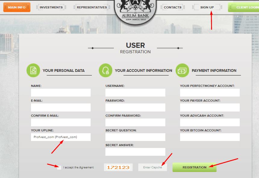 Регистрация в Aurum Bank